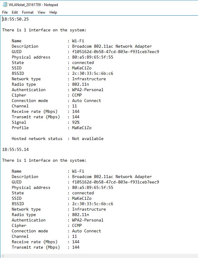Using netsh WLAN show interfaces to Monitor Association